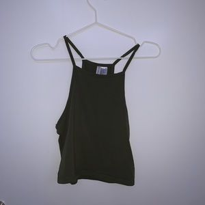 h&m army green halter top